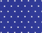 Cotton + Steel Fabric Basics, XOXO in Cobalt Blue, Small Graphic Design Basic