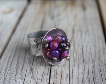 Purple/Silver Statement Ring