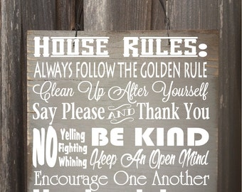 family sign, family, family rules, house decor, family sign wood, family sign home decor, family sayings