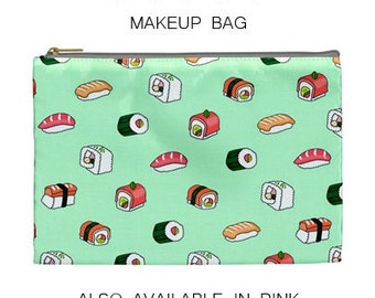 Sushi makeup bag,sushi bag,sushi,makeup bag,pouch,gift,purse,cosmetic bag,cute,bag,s5,6,mint,turquoise,sea,food,roll,japanese,fish,s5