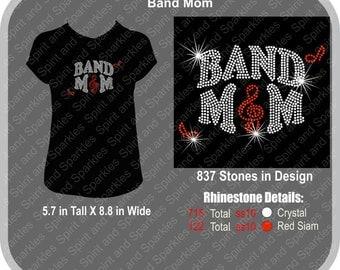 Band Mom Rhinestone T-Shirt, Tank or Hoodie