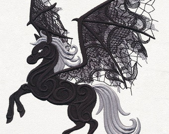 GHOSTLY PEGASUS Winged Fantasy Horse LACY Wings Machine Embroidered Quilt Block, Panel