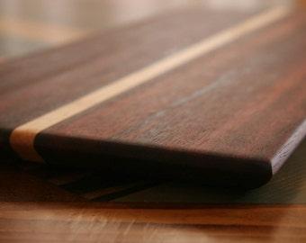 Jatoba, Walnut & Maple Wood Cutting Board, or serving board, in a Striped Pattern