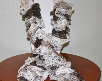 Hand Crochet Ruffle Scarf - Sashay Scarf - Handmade - White, Grey & Brown