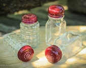 Ruby Red Powder Coated Glass Salt & Pepper Shaker Set - Large - 2 Styles to choose
