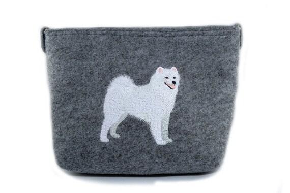 samoyed 2 felt gray bag shoulder bag with dog handbag