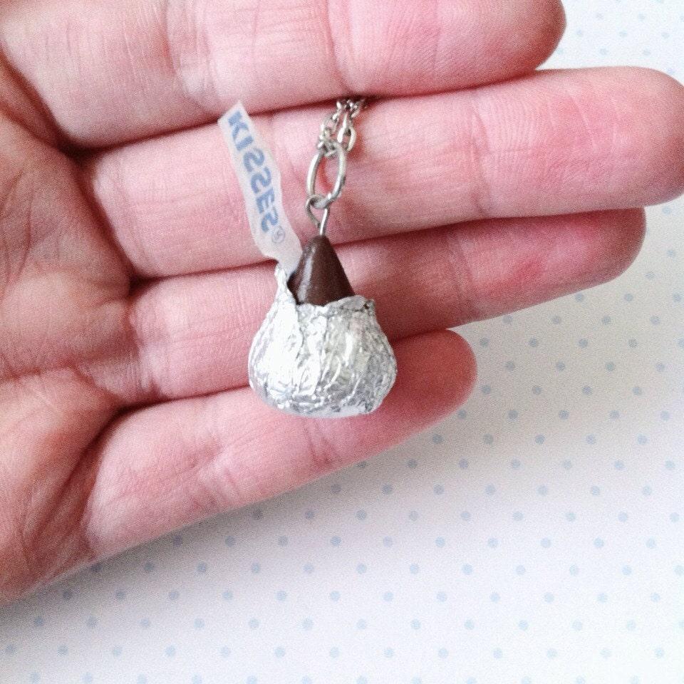 Chocolate Kiss necklace polymerclay