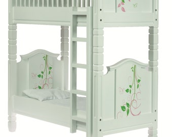 "Swirling Butterflies Bunk Bed with linens, fits 18"" American Girl Doll"