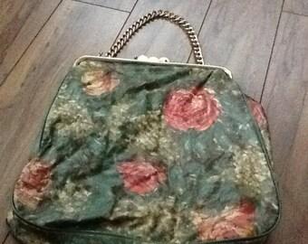 Sale*Vintage Italian plastic  medium sized impressionist clutch purse 1960's