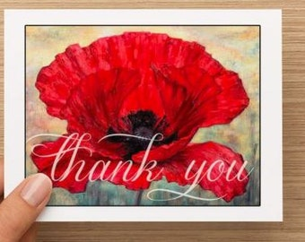 Thank you card: Personally designed red poppy thank you card.