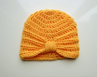 Handmade Crochet Baby Turban Style Hat in Saffron 0-3 months, ready to ship, great photo prop! Baby Gift, Baby Showers