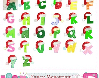 Christmas Letters applique,Santa Claus Monograms applique,Christmas letters design,26 Letters,Alphabet,Christmas,Birthday letters-01