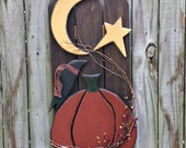 Pumpkin, Crow, Moon and Star Picket Fence - Porch Sitter - Wall Decor - Handmade Decor - FAAP, HAFAIR, OFG Team, TeamHaHa