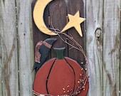 Pumpkin, Crow, Moon and Star Picket Fence - Porch Sitter - Wall Decor - Handmade Decor - FAAP, HAFAIR, OFG Team, TeamHaHa