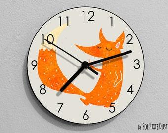 Fox Watercolor Wall Clock - Kids Nursery Room, Teens Room, Baby Room  - Wall Clock