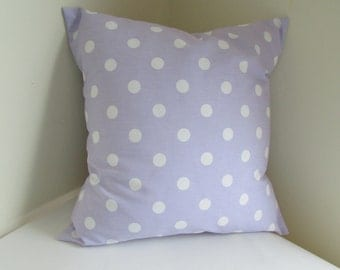 SALE Decorative  Lavender Pillow Cover, Wisteria With White Polka Dot Pillow Cover