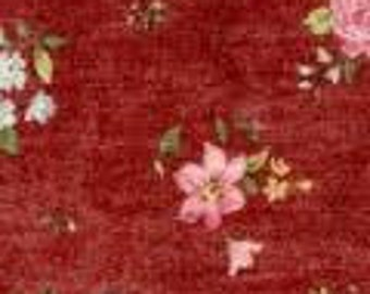 Georgia Lou, burgundy spaced flowers by Brenda Riddle of Acorn Quilt & Gift Company 100% cotton