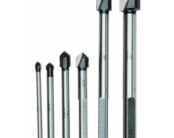 CARBIDE Tip GLASS & Tile Cutting Drill BITS C-3 tungsten carbide tips for drilling glass, plastics, Formica tiles and ceramics