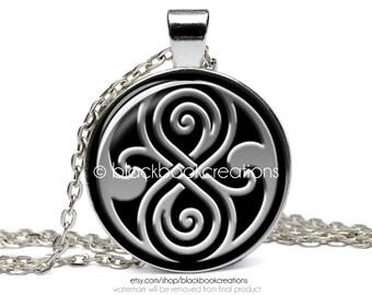 Doctor Who Inspired Seal of Rassilon Gallifreyan Necklace - Handmade