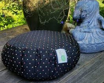 Meditatio Cushion-Flat Black with Pretty Polka Dots all over- Zafu