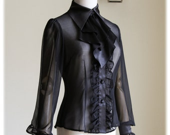 Exclusive Chic Designer Gothic Frilly 100% Pure Mulberry Natural Silk Chiffon Georgette Dress Blouse & Jabot