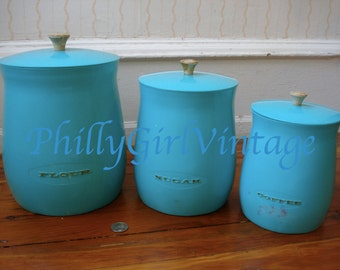 Vintage Blue Aqua Turquoise Storage Canister Containers Marked Flour Sugar Coffee