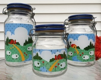 Anchor Hocking Glass Canisters With Red Barn And Sheep Theme~by Nina~Set Of 3