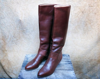 Brown Leather Riding Boots, Women's 8 M