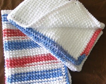 Cotton DishTowels Red, White, and Blue Stripe- Set of Two