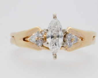 0.72 Carat T.W. Marquise & Round Cut Diamond Engagement Ring 14K Yellow Gold