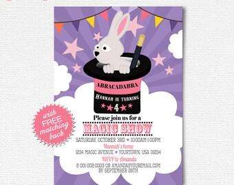 Magic show invitation, Girls magic show birthday invitation, Magic party, Pink, lavender magic birthday, Printable magician invite card