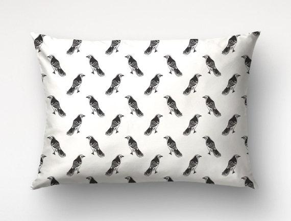 Lumbar Pillow 14x20, Mockingbirds, Custom Color, Birds Pillow Cover, Graphic Pillow. Custom Color