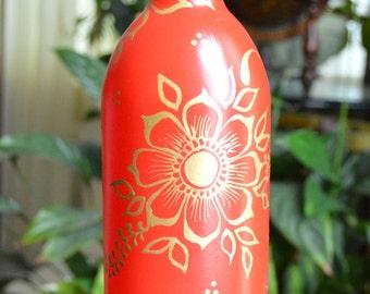 Henna Decorated Wine Bottle