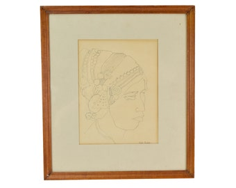 Vintage Pen & Ink Sketch Drawing Woman Portrait Headdress Ornaments Signed Bettis Becker