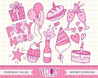 Doodle Clipart, Pink Doodle Clipart Set, Doodle Art, Party Doodles, Doodle Clip Art, Doodle Drawing by VectoryClipart