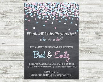 Chalkboard Pink Blue Gender Reveal Party Boy or Girl He or She Printable Invitation