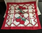 Vintage Tea Towel, Mid Century Towel, Cotton Dish Towels, Fruit Towel, Apples and  Cherries, Farmhouse Kitchen, Bright Colors, Circa 1950s