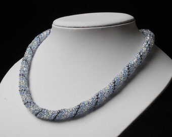 Silvery Blue Russian Spiral Necklace