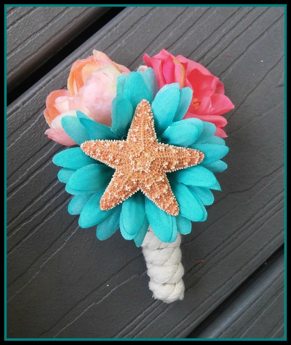 Items Similar To Boutonniere, Starfish, Coral, Teal