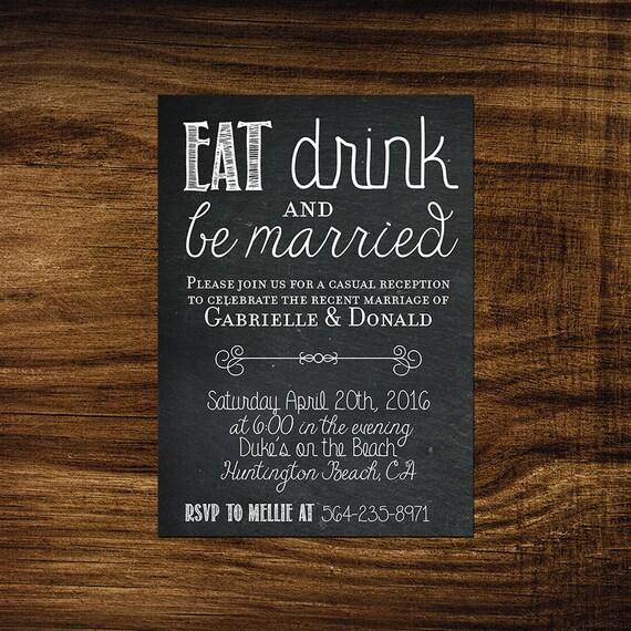 Elopement Announcement Card Wedding Announcements: Emily Printable Elopement Reception By MellieBellieBoutique