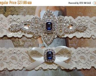 Vintage Inspired Wedding Garter Set, Bridal Garter Set, Ivory Lace Garter, Rhinestone Crystal, Grace Style 10525