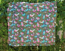 Sparrow Minky Blanket,Girl Minky Blanket,Whimsical Minky Blanket,Floral Minky Blanket,Colorful Blanket,Fuchsia,Teal,Gray,Cream,Green