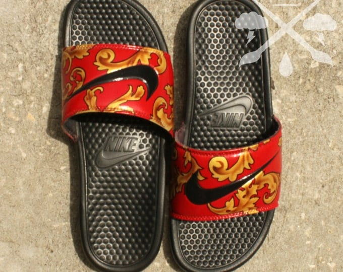 Nike Custom Red Supreme Foamposite Benassi Swoosh Slide Sandals Flip flops Men's