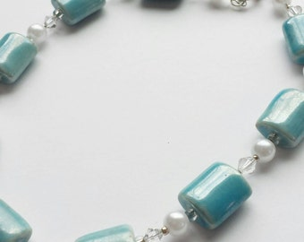 Blue Beaded Chunky Necklace with Pearl Accents