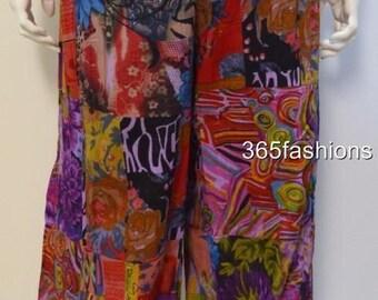 Plus size boho floral swirls patchwork harem pants trouser purple