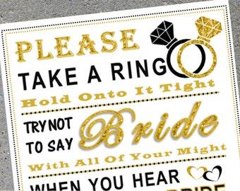 Bridal Shower Game: Don't Say Bride ***BLACK & GOLD RING***