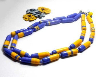 Beaded Jewelry Handmade Lampwork Necklace. Blue, yellow.