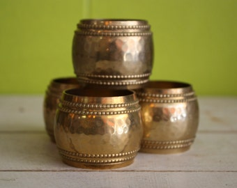 Vintage Brass Hammered Napkin Rings - Set of 4