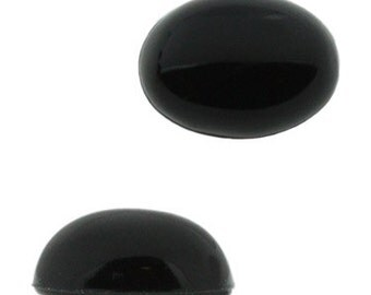 8x6mm Oval Lucite Cabochon - Jet Unfoiled (144pcs)