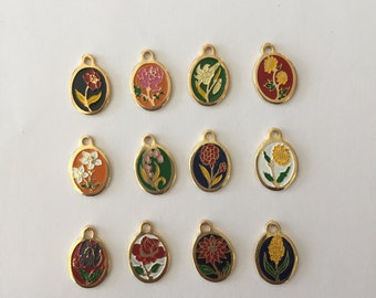 Mini Flower of the Month Charms (set of 12 pcs)